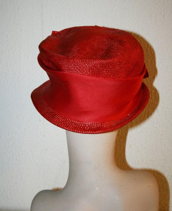 Vintage Italian RED Straw Hat , Women's Summer Ha… - image 3
