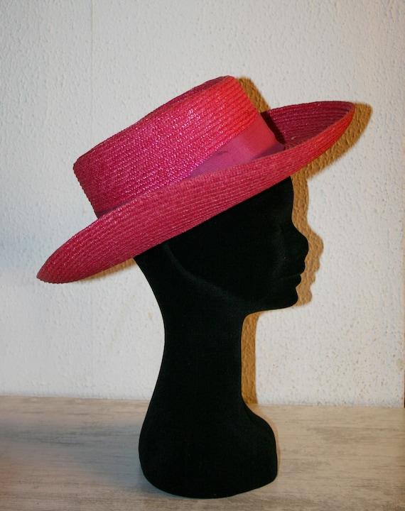 Vintage Classic Italian Fuxia Straw Women's Summe… - image 6