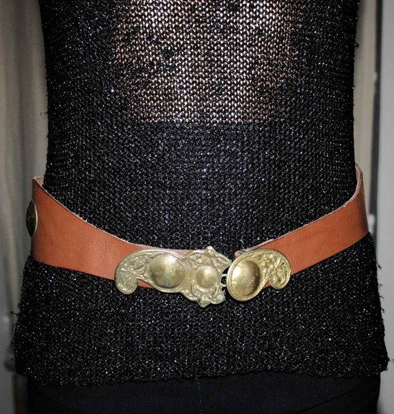 BELT LEATHER WOMAN/Leather vintage 80s/ Brown lea… - image 2