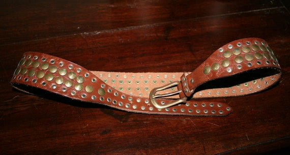 VINTAGE 80s Brown LEATHER BELT/ Studs belt/Leathe… - image 5