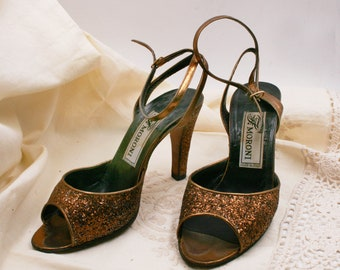 Beautiful 80s vintage EVENING SHOES/ women's shoes / Dècollettè paiettes / elegant sandals / bronze shoes / vintage shoes 80s /