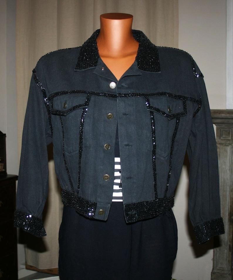 Vintage BLACK embellished JEAN JACKETSequin jacket Made in Italy 1990sLuxury Fashion Black Jacket