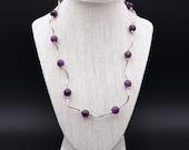 Amethyst Gemstone Set Earrings, Necklace(45cm), Healing Stones, Chakra meditation