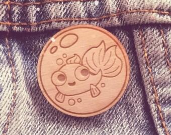 Wooden Pin: A little goldfish in a bubble! (brooch lapel fish pet wood cute)