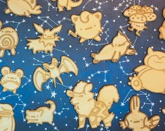 Pokemon Wooden Pins (Retro Nintendo Brooch Gameboy Switch Let's Go Ditto Pikachu Eevee Eeveelutions Snorlax Mudkip Pichu Grookie Charizard)