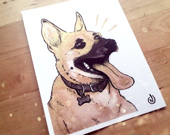 CUSTOM Pet Portrait Painting in Gold and Black - Gift Idea / Holiday / Memorial / Birthday