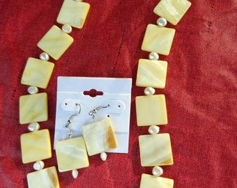 Beaded Dyed Shell Necklace and Earring Sets, various colors available