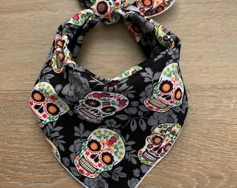Day of the dead Skulls roses Bandana Head Band Scarf Chemo Biker Feeanddave