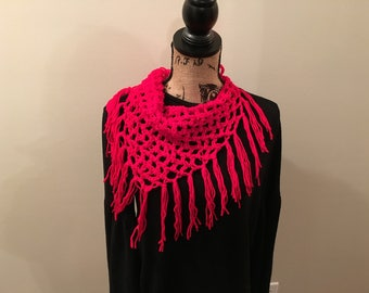 Crochet Red Triangle Scarf Fringe