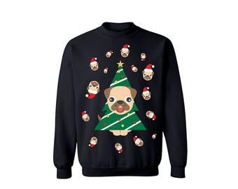 Ugly Pugly Dog Holiday Christmas Tree Sweater Crewneck