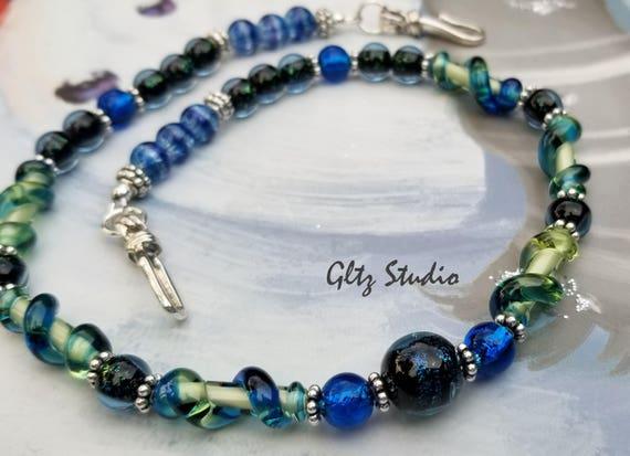 Glitzs Jewels Sterling Silver Blue Millefoiri Glass Round Necklace 18
