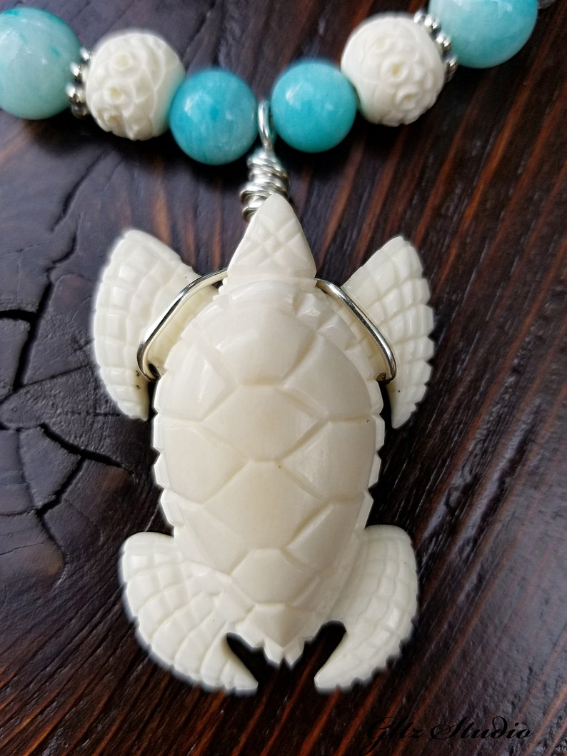 Vintage Hand Carved Bone Sea Turtle Pendant Necklace Wnatural Amazonite 925 Sterling Silver Czech Glass Vintage Carved Bone Beads