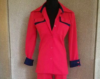 1970's Women's Red Polyester Business Pant Suit Size 6-8