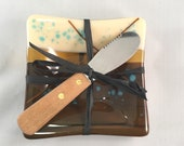 Fused Glass Serving Dish; Tableware; French Vanilla; Petrified Wood; Turquoise; Art Glass