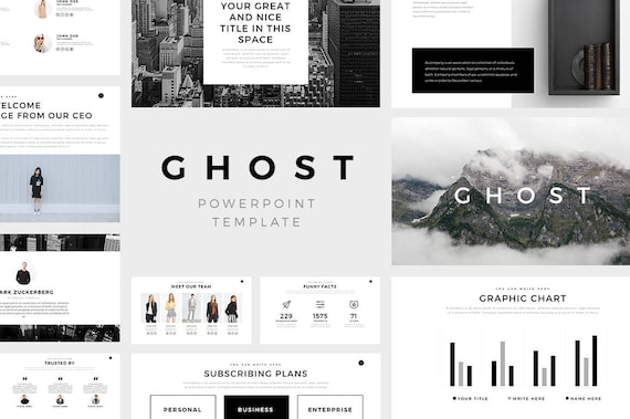 ghost minimal powerpoint template | etsy, Presentation templates