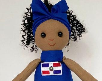 Flag Doll (Dominican Republic) Latino Latina Hispanic Black Doll