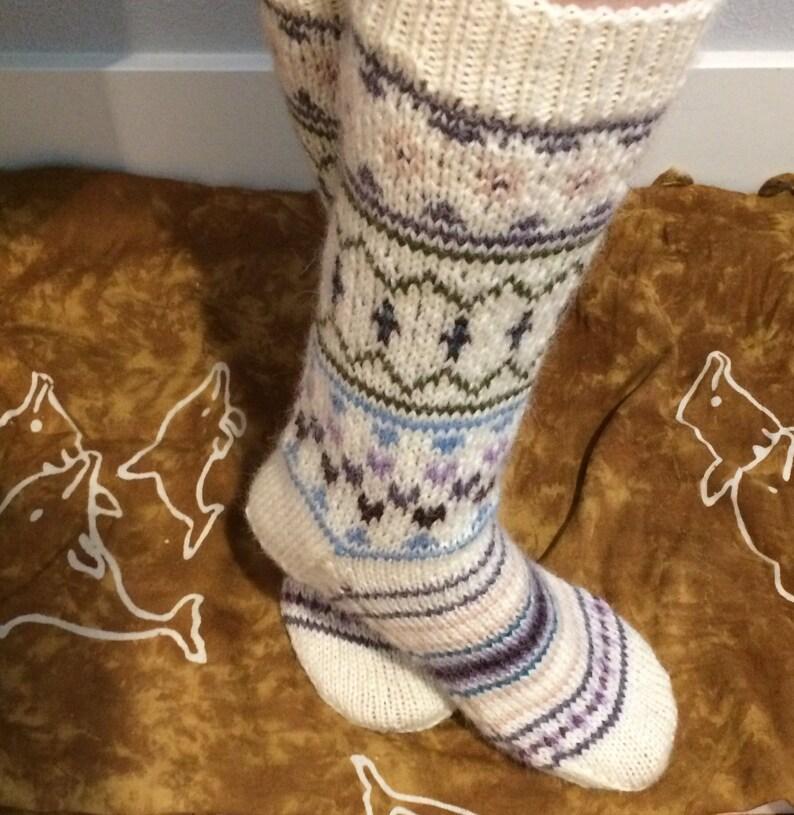 Ladies Fair Isle//Snowflake Over Knee Pattern sock in Black and Cream
