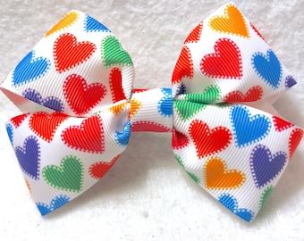 Girly Rainbow Hearts Bow