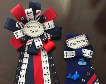 Mommy and Daddy to Be Pin, Baby Shower Pin, Ribbon Nautical, Blue, Red ,White, Corsage Pin, Baby Shower, Mommy to be, Daddy to be Ribbon