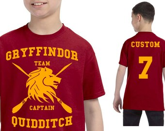 Harry Potter T-Shirt - Gryffindor Quidditch T-Shirt - CUSTOMIZED Kids Gryffindor Shirt - Hogwarts Clothes - Men's Tshirt - Women's Tshirt