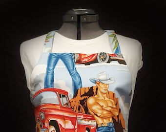 Cowboy Gayprons with LINING! By Lynn - Fashionable Aprons for Everyday (Blue Version)