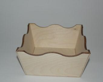 Wooden Storage Basket cm 20x20x6