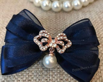 Blue Hair Bow, Navy Blue, Blue Boutique Bow, Navy Blue Hairbow