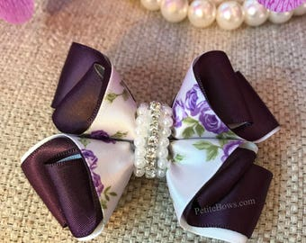 Purple and White Floral hair bow, Girls Hair Bow, Toddler Hair bow