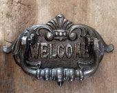 Welcome Cast Iron Door Knocker, Personalized, Large Iron Door Decor, New Home Decor, Farmhouse Decor, Home Decor