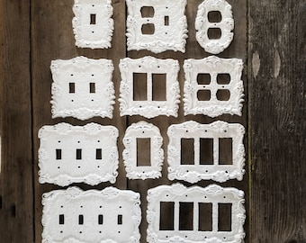 Shabby Chic, Switch Plate Covers, Light Switchplates, Light Switch Covers, 4 Switch Plate Cover, Quad plate, Duplex Outlet, Double Rocker