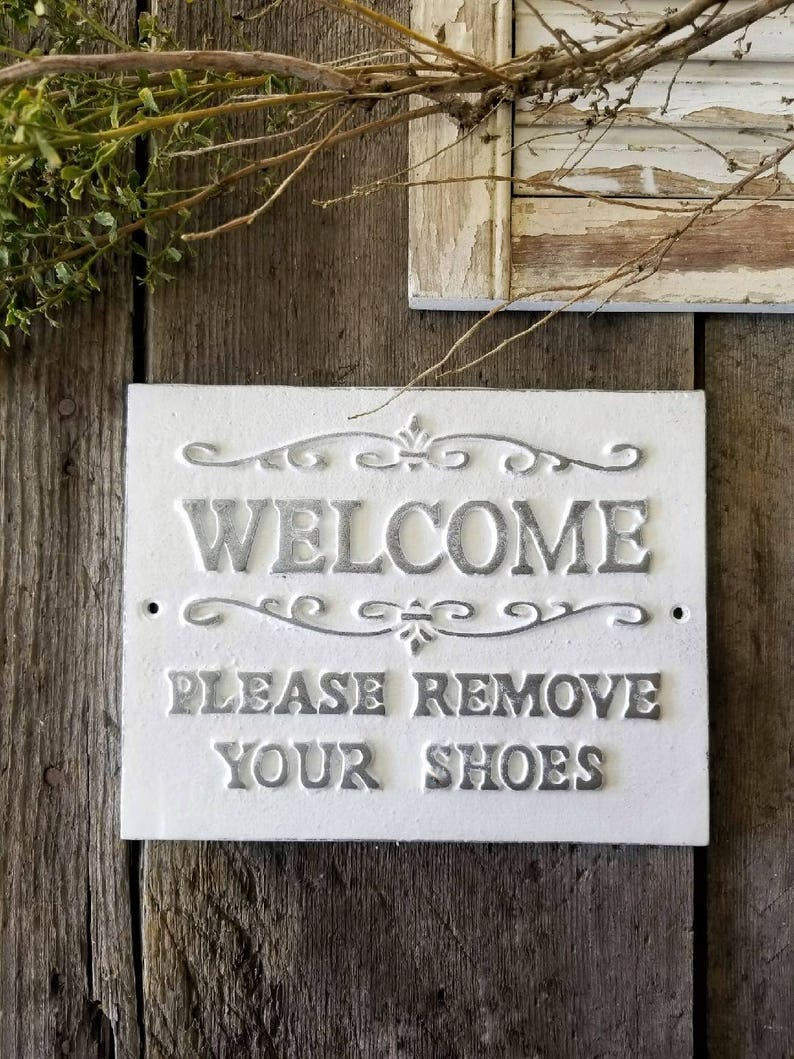 photo regarding Please Remove Your Shoes Sign Printable Free titled Remember to Clear away Your Sneakers Indication, No sneakers permitted, Rustic Dwelling Decor, Steel Indication