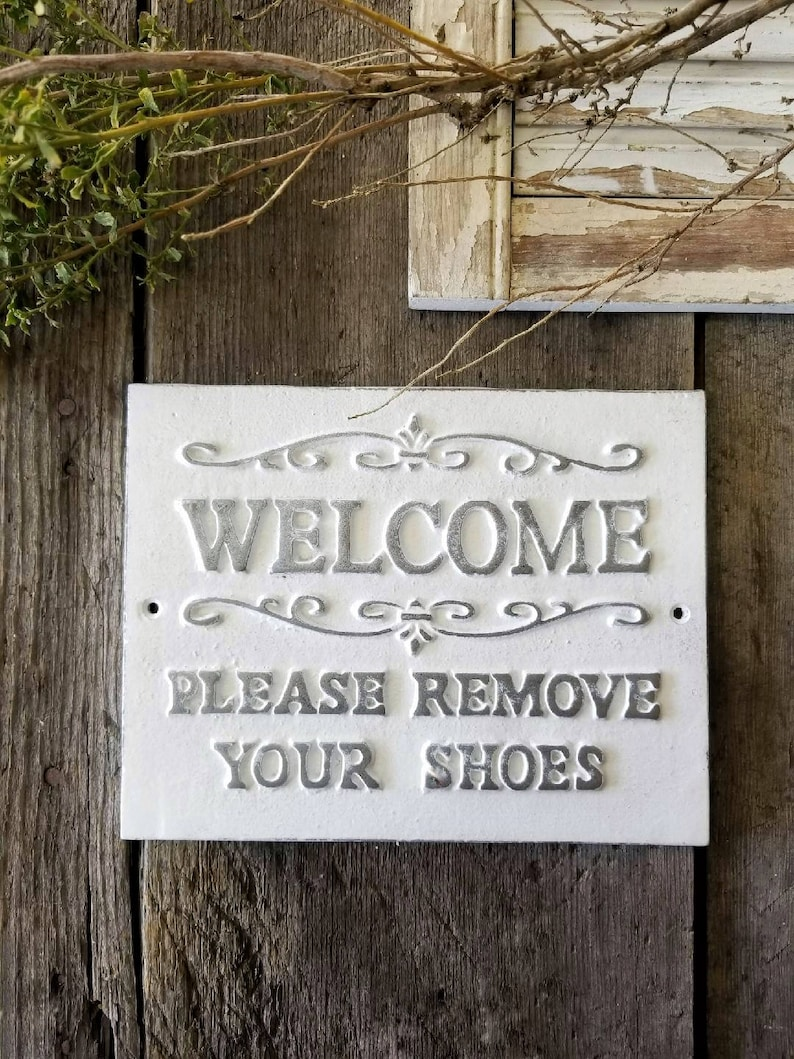 image relating to Please Remove Your Shoes Sign Printable Free referred to as You should Clear away Your Footwear Indicator, No footwear authorized, Rustic Residence Decor, Metallic Indicator