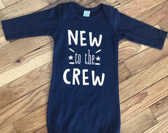 d3c67f67cca2 New To The Crew, New To The Crew Baby Gown, Baby Boys Take Home Outfit, Baby  Boy Bris Outfit, Little Brother, New Baby Boy, Im New One Piece