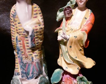 Vintage Ceramic Asian Figurine Pair