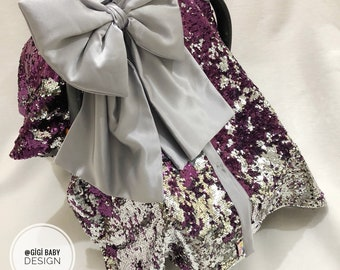 Purple And Silver Shiny Sequin Car Seat Canopy Cover With Big Bow For Baby Girl Personalized