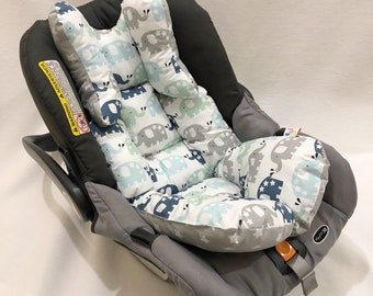 Reversible Gray Navy Elephant And Star Car Seat Stroller Pillow Cushion For Baby Boy Girl
