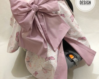 Purple Butterfly Script Car Seat Canopy Cover with Big Bow for Baby Girl