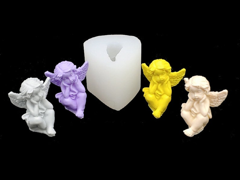 1 Mini Angel Silicone Mold Mould Sugarcraft Candle Soap Chocolate Polymer Clay Melting Wax Resin Tools Ornament Handmade