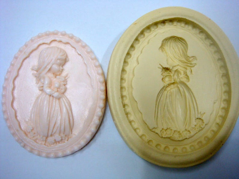 Girl with flower Silicone Mold Mould Sugarcraft Candle Soap Chocolate Polymer Clay Melting Wax Resin Tools Ornament Handmade