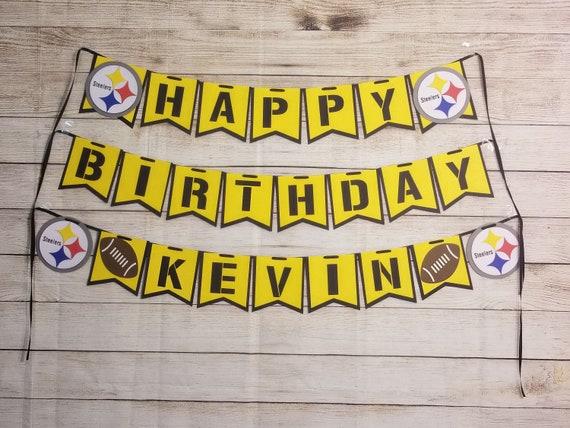 Pittsburgh Steelers Happy Birthday Banner Football Birthday Etsy