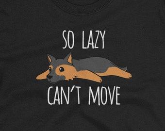 So Lazy Can't Move German Shepherd T-Shirt, Funny Dog Gift Shirt