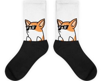 a315c761b6cd Sunglasses Corgi Socks, Cute Corgi Gift, Funny Corgi Dog Socks