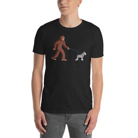 Bigfoot Walking Schnauzer Shirt Funny Sasquatch T