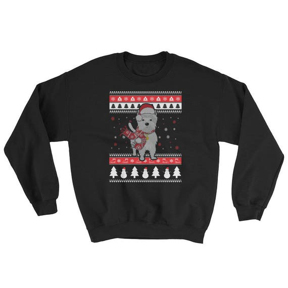 Ugly Christmas Sweater Funny.Cute Knitted Westie Graphic Ugly Christmas Sweater Funny Westie Dog Gift