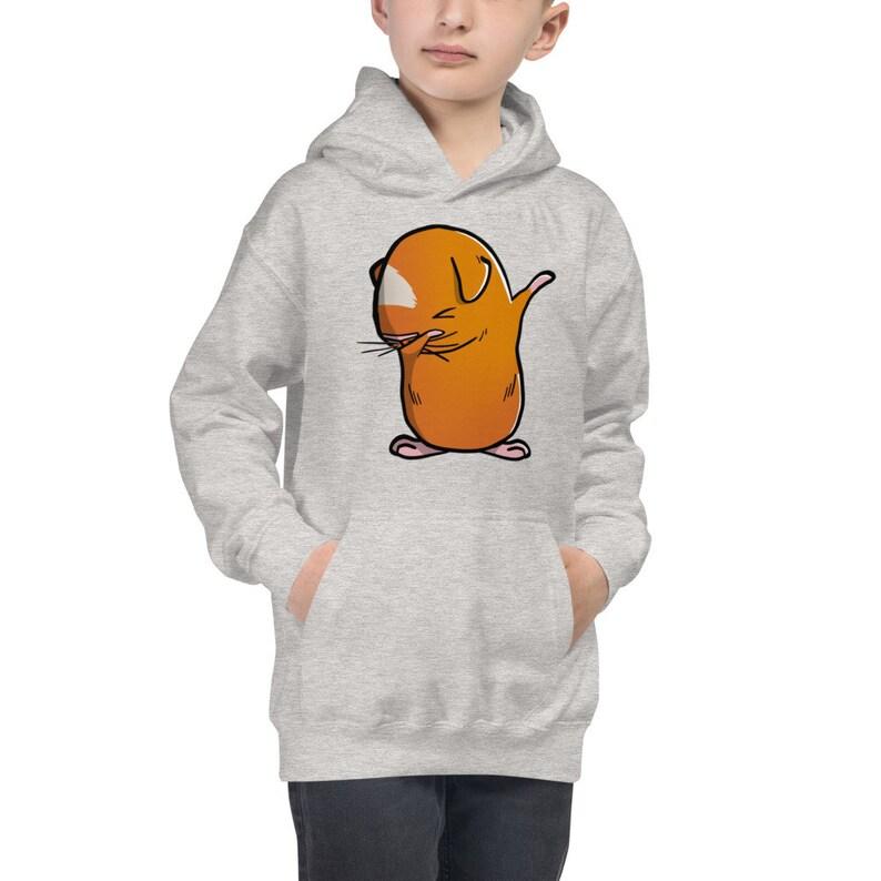 Dabbing Brown Guinea Pig Dab Dance Kids Hoodie Funny Guinea Pig Hooded Sweatshirt Cavy Pet Youth Hoodie