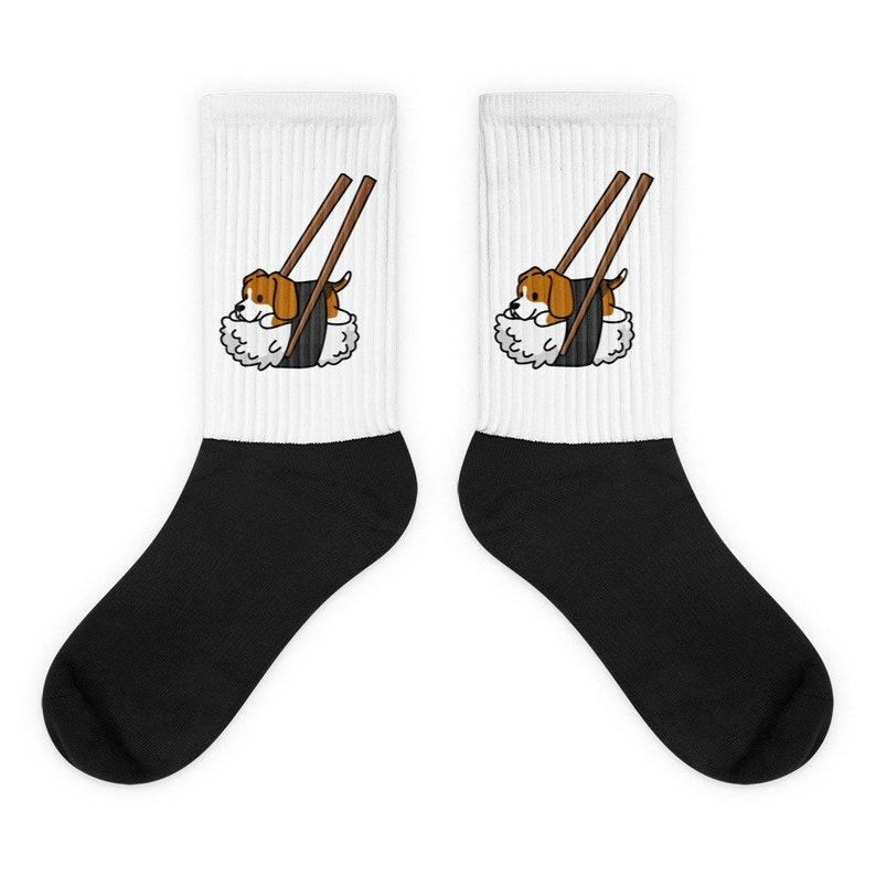 Funny Beagle Gift Beagle Sushi Socks Beagle Dog Socks