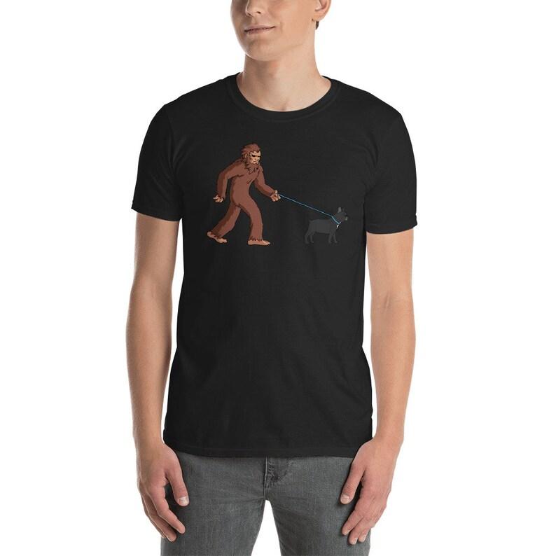 31621e09 Bigfoot Walking French Bulldog Shirt Funny Sasquatch T-Shirt | Etsy