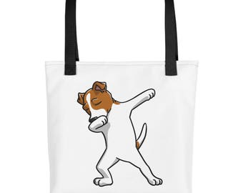 Funny Dabbing Jack Russell Terrier Tote bag, Cute Jack Russell Terrier Dog bag