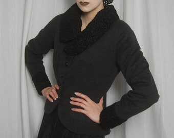 A Smart and Stylish 1950s Nipped Waist Jacket in Wool with Astrakhan Curly Persian Lamb Collar