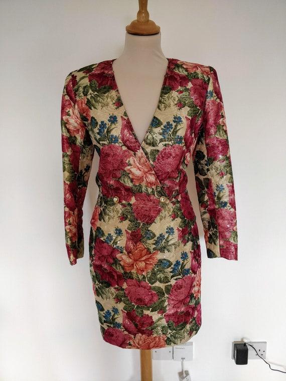 Vintage 1980s Emanuel Ungaro floral sequinned two-